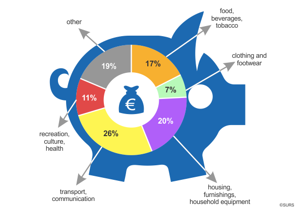 Infographic: Structure of consumption expenditure of households, Slovenia, 2015