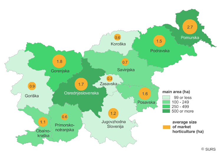 Picture 1: Main area for market horticulture, statistical regions, Slovenia, 2016