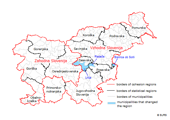 Map 1: Cohesion regions, statistical regions, municipalities, Slovenia, 1. 1. 2015