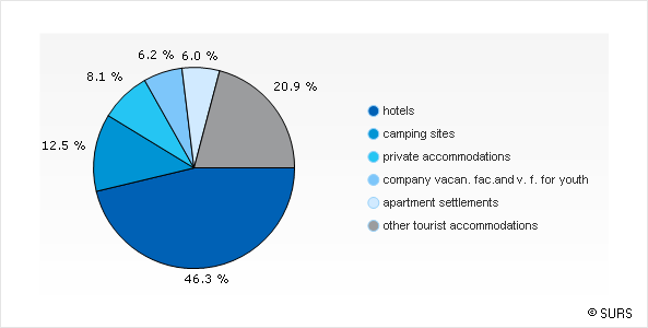 Chart 2: Tourist bedplaces by types of tourist accommodations, Slovenia, December 2015
