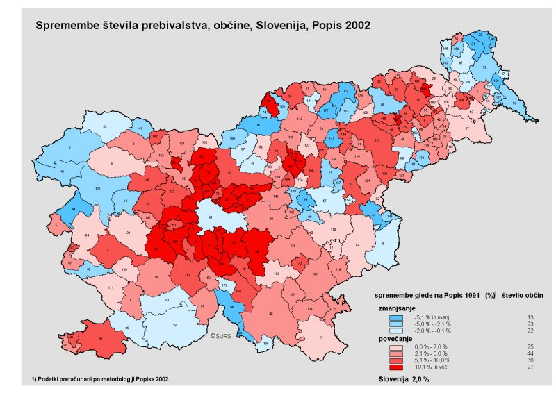 Statistical Office Of The Republic Of Slovenia Census - Republic of slovenia map
